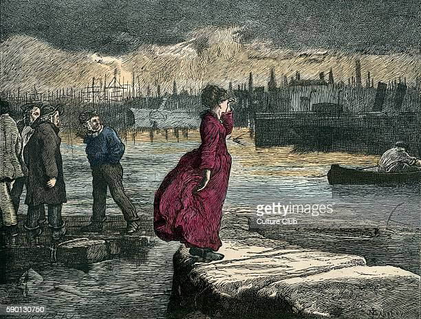 Our Mutual Friend by Charles Dickens. Caption reads: 'Lizzie, looking for her father, saw him coming, and stood upon the causeway that he might see...