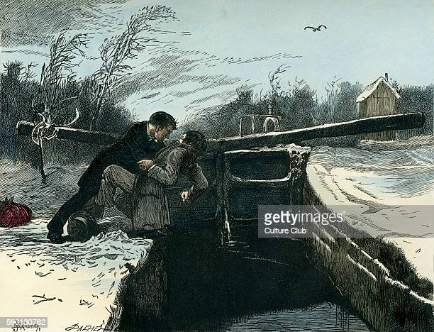 Our Mutual Friend by Charles Dickens. Caption reads: 'Riderhood went over into the smooth pit backward, and Bradley Headstone upon him!' . ....