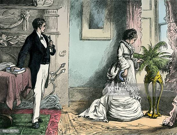 "Our Mutual Friend by Charles Dickens. Caption reads: '""You never charge me, Miss Wilfer,"" said the Secretary, encountering her by chance alone in the..."