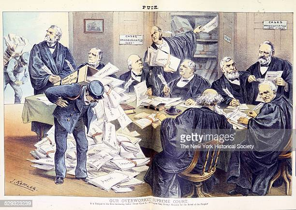 Illustration shows Supreme Court justices 'Woods Blatchford Harlan Gray Miller Field Waite Bradley and Matthews' around a table struggling to keep up...