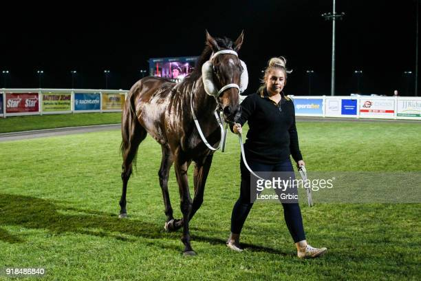 Our Peaky Blinders after winning the Meluca Group BM70 Handicap at Racingcom Park Racecourse on February 15 2018 in Pakenham Australia