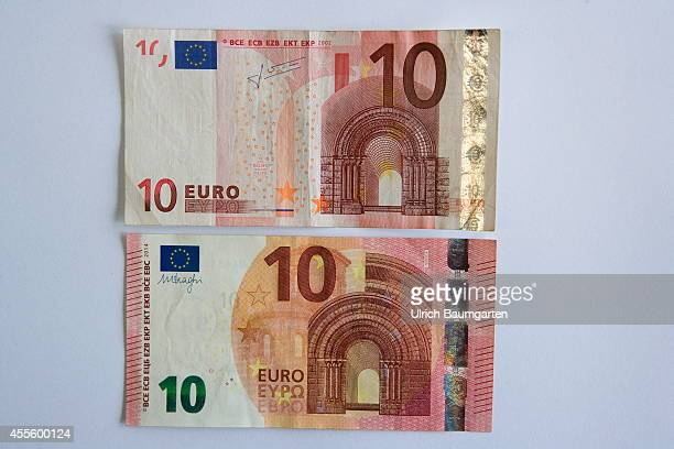 Our picture shows a new and an old 10 Euro banknote on September 17 2014 in Cologne Germany