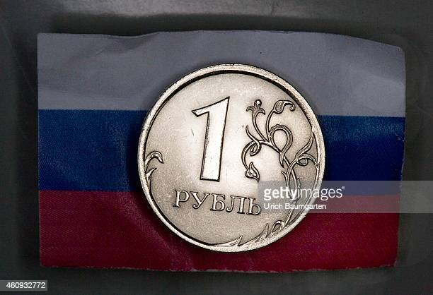 Our picture shows a Russian 1 Ruble coin on the Russian flag on December 31 2014 in Bonn Germany