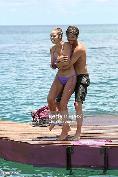 Our Time to Shine Morgan McLeod and Jeremiah Wood of the Beauty Tribe celebrate during the third episode of SURVIVOR CAGAYAN Wednesday March 12 on...