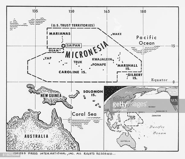 Our UPI newsmap shows the sprawling region of Micronesia which the UA has held as a trust territory for the United Nations for the past 14 years...
