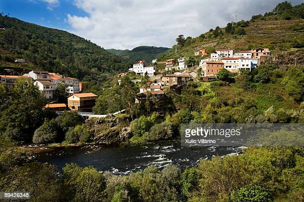 Ourense. Galicia. Aerial view of the town of Os Peares in the Ribeira Sacra. River Mino and Sil. Ourense.