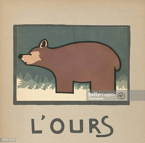 L'Ours' vintage illustration for a children's book of a bear lithograph by Andre Helle 1912