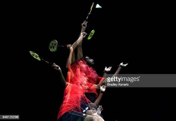 Ouseph Rajiv of England plays a shot in the MenÕs Singles Bronze Medal match against H S Prannoy of India during Badminton on day 10 of the Gold...