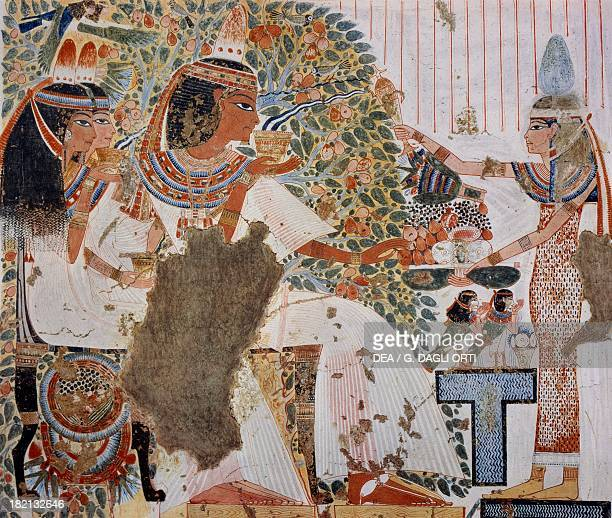 Ouserhat drinking water of paradise with his wife and mother in front of the goddess Nut copy of a fresco from the Tomb of Ouserhat Thebes dating...