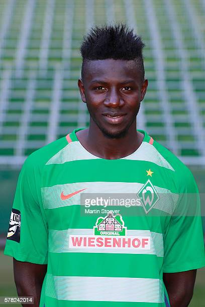 Ousman Manneh poses during the offical team presentation of Werder Bremen II on July 20 2016 in Bremen Germany