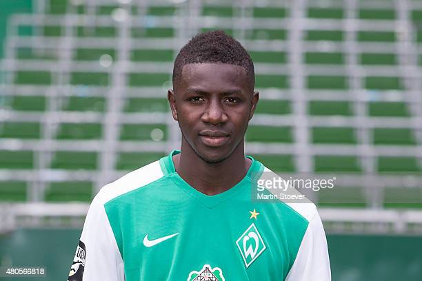 Ousman Manneh poses during the official team presentation of Werder Bremen II at Weserstadium on July 10 2015 in Bremen Germany