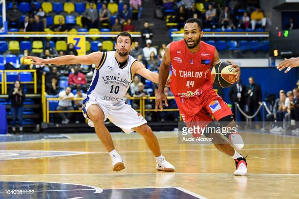 Ousmane Camara of Chalon celebrates during the Jeep Elite match between Levallois and Chalon on September 25 2018 in LevalloisPerret France