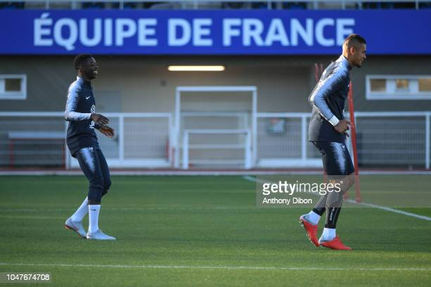 Ousmane Dembele and Alphonse Areola of France during the training session at Centre National du Football on October 8 2018 in Clairefontaine France