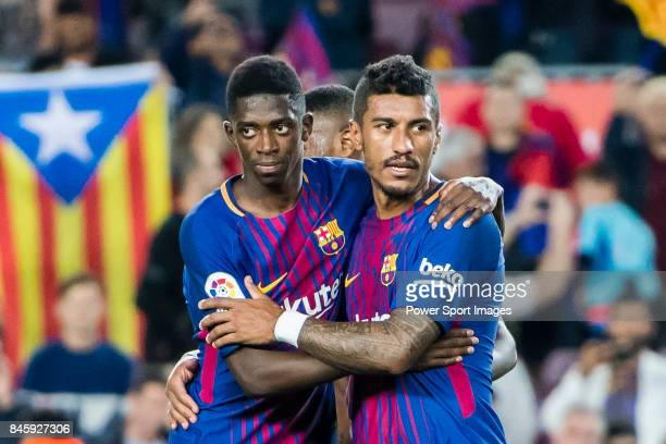 Ousmane Dembele and Jose Paulo Bezerra Maciel Junior Paulinho of FC Barcelona celebrate after winning the La Liga match between FC Barcelona vs RCD...