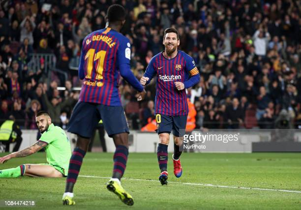 Ousmane Dembele and Leo Messi celebration during the match between FC Barcelona and Levante UD corresponding to the 1/8 final of the spanish cup...
