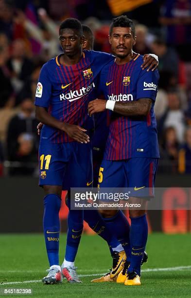 Ousmane Dembele and Paulinho of Barcelona celebrate after the La Liga match between Barcelona and Espanyol at Camp Nou on September 9 2017 in...