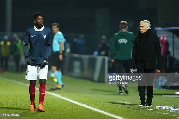Ousmane Dembele and Pierre Mankowski of France during the Uefa U21 European Championship qualifier between France and Scotland at Stade Jean Bouin on...