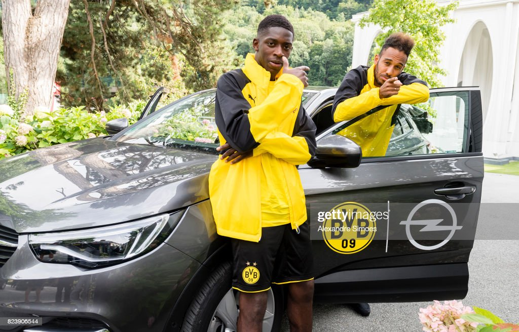 Ousmane Dembele and Pierre-Emerick Aubameyang of Borussia Dortmund during a game called 'Quiz Taxi' for the sponsor Opel as part of the training camp on July 27, 2017 in Bad Ragaz, Switzerland.