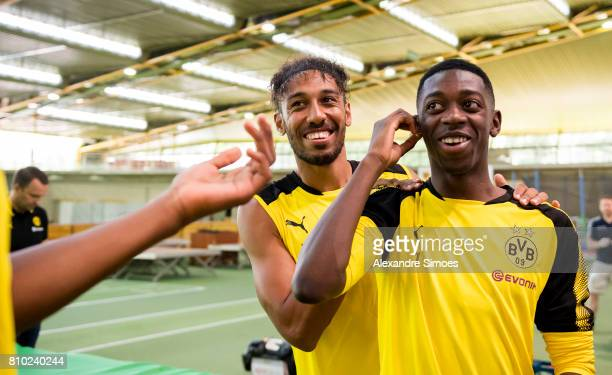 Ousmane Dembele and PierreEmerick Aubameyang of Dortmund looks on during the Lactate Test at xxx on July 7 2017 in Dortmund Germany