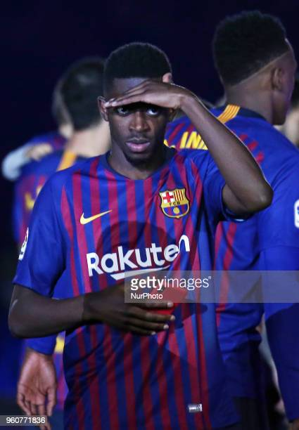 Ousmane Dembele during the celebrations at the end of the match between FC Barcelona and Real Sociedad played at the Camp Nou Stadium on 20th May...