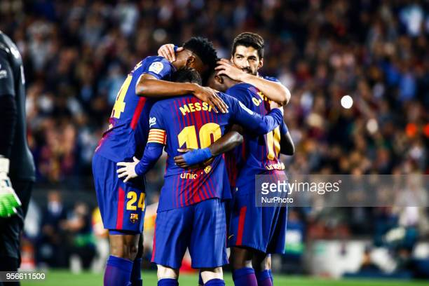 11 Ousmane Dembele from France of FC Barcelona celebrating his goal with 24 Yerry Mina from Colombia of FC Barcelona 10 Leo Messi from Argentina of...
