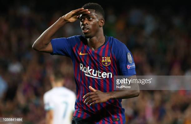 Ousmane Dembele goal celebration during the match between FC Barcelona and PSV Eindhoven corresponding to the week 1 of the group stage of the UEFA...