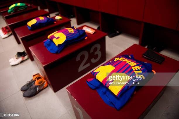 Ousmane Dembele kit is ready in the FC Barcelona dressing room before the UEFA Champions League Round of 16 Second Leg match between FC Barcelona and...