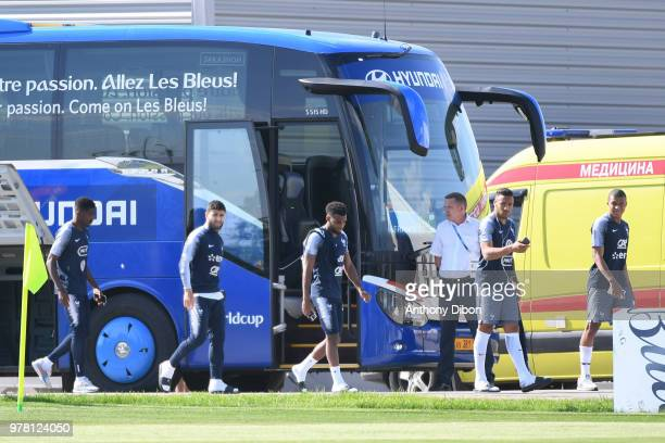 Ousmane Dembele Nabil Fekir Thomas Lemar Corentin Tolisso and Kylian Mbappe of France during Team France training session ahead of the FIFA World Cup...