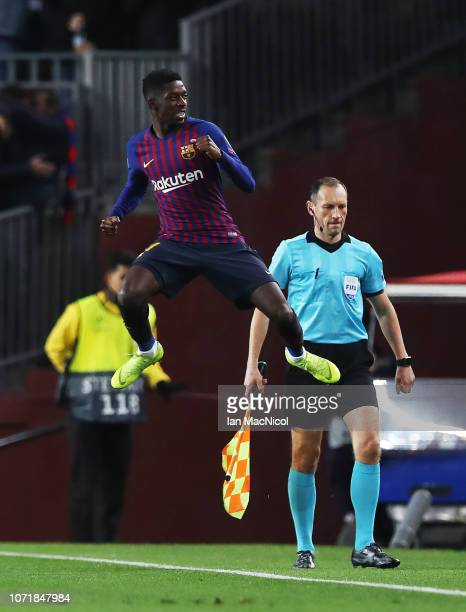 Ousmane Dembele of Barcelona celebrates after he scores the opening goal during the UEFA Champions League Group B match between FC Barcelona and...