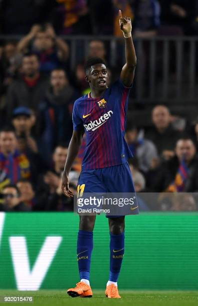Ousmane Dembele of Barcelona celebrates after scoring his sides second goal during the UEFA Champions League Round of 16 Second Leg match FC...