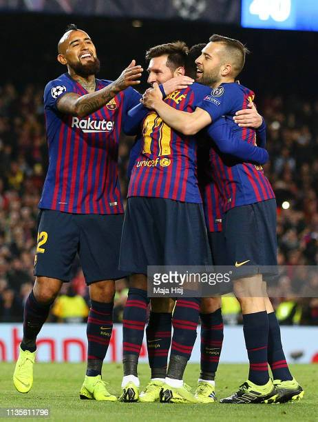 Ousmane Dembele of Barcelona celebrates after scoring his team's fifth goal with team mates during the UEFA Champions League Round of 16 Second Leg...