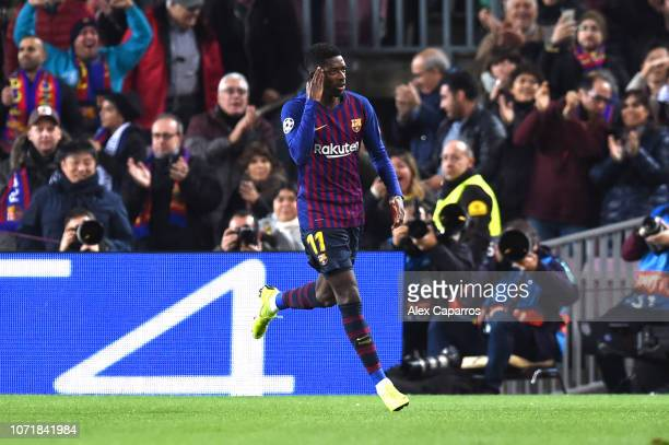 Ousmane Dembele of Barcelona celebrates after scoring his team's first goal during the UEFA Champions League Group B match between FC Barcelona and...