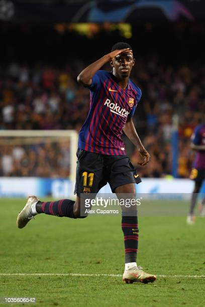 Ousmane Dembele of Barcelona celebrates after scoring his team's second goal during the Group B match of the UEFA Champions League between FC...