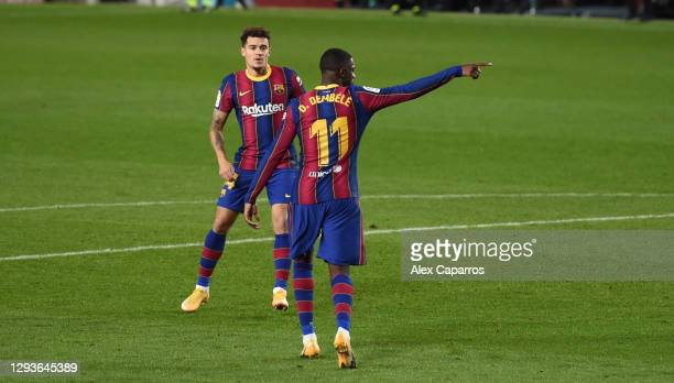 Ousmane Dembele of Barcelona celebrates after scoring their teams first goal during the La Liga Santander match between FC Barcelona and SD Eibar at...