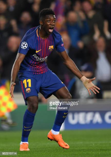 Ousmane Dembele of Barcelona celebrates as he scores their second goal during the UEFA Champions League Round of 16 Second Leg match FC Barcelona and...