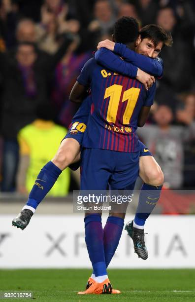 Ousmane Dembele of Barcelona celebrates with Lionel Messi as he scores their second goal during the UEFA Champions League Round of 16 Second Leg...