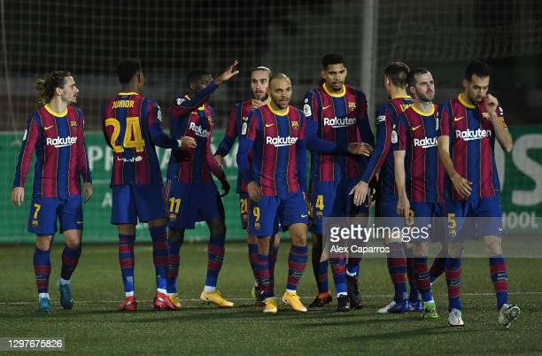 Ousmane Dembele of Barcelona celebrates with Martin Braithwaite, Ronald Araujo and team mates after scoring their side's first goal during the Copa...
