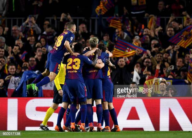 Ousmane Dembele of Barcelona celebrates with team mates as he scores their second goal during the UEFA Champions League Round of 16 Second Leg match...