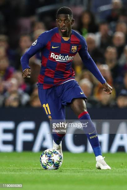 Ousmane Dembele of Barcelona controls the ball during the UEFA Champions League group F match between FC Barcelona and Borussia Dortmund at Camp Nou...