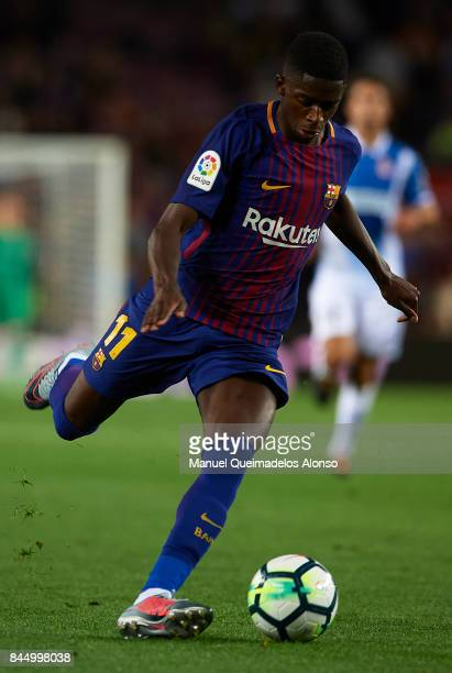 Ousmane Dembele of Barcelona in action during the La Liga match between Barcelona and Espanyol at Camp Nou on September 9 2017 in Barcelona Spain