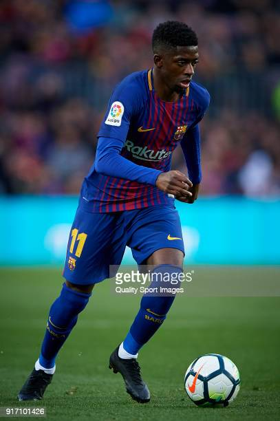 Ousmane Dembele of Barcelona in action during the La Liga match between Barcelona and Getafe at Camp Nou on February 11 2018 in Barcelona Spain