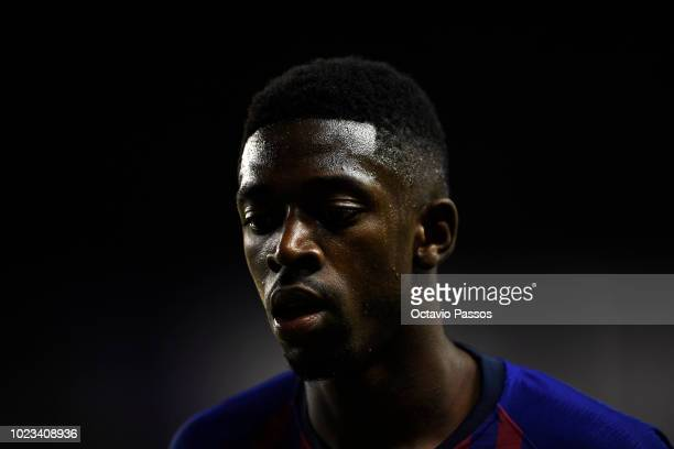 Ousmane Dembele of Barcelona in action during the La Liga match between Real Valladolid CF and FC Barcelona at Jose Zorrilla on August 25 2018 in...