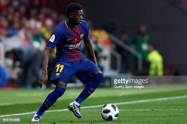 Ousmane Dembele of Barcelona in action during the Spanish Copa del Rey Final match between Barcelona and Sevilla at Wanda Metropolitano on April 21...