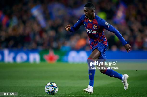 Ousmane Dembele of Barcelona in action during the UEFA Champions League group F match between FC Barcelona and Borussia Dortmund at Camp Nou on...