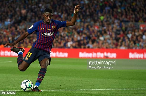 Ousmane Dembele of Barcelona kicks the ball during the La Liga match between Barcelona and Real Sociedad at Camp Nou on May 20 2018 in Barcelona Spain