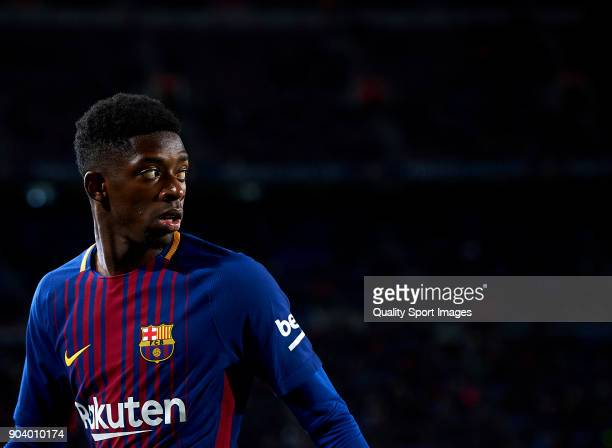 Ousmane Dembele of Barcelona looks on during the Copa Del Rey 2nd leg match between Barcelona and Celta Vigo at Camp Nou on January 11 2018 in...