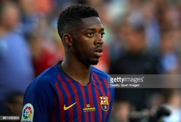 Ousmane Dembele of Barcelona looks on during the La Liga match between Barcelona and Real Sociedad at Camp Nou on May 20 2018 in Barcelona Spain