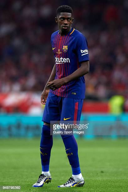 Ousmane Dembele of Barcelona looks on during the Spanish Copa del Rey Final match between Barcelona and Sevilla at Wanda Metropolitano on April 21...