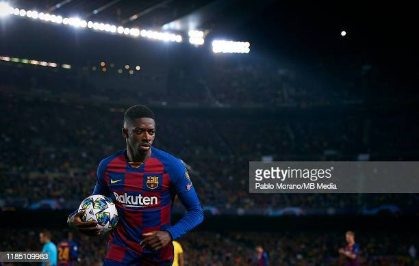 Ousmane Dembele of Barcelona looks on during the UEFA Champions League group F match between FC Barcelona and Borussia Dortmund at Camp Nou on...