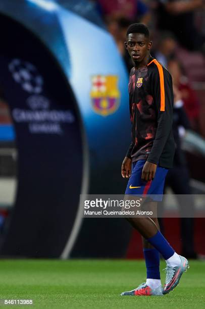 Ousmane Dembele of Barcelona looks on prior to the UEFA Champions League group D match between FC Barcelona and Juventus at Camp Nou on September 12...